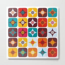 Retro square floral tiles Metal Print