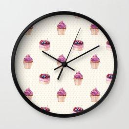 Vintage lavender pink ivory polka dots cherries pie cupcakes pattern Wall Clock