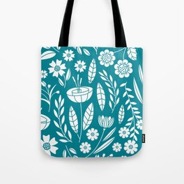 Blooming Field - teal Tote Bag