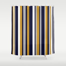 Modern Stripes in Mustard Yellow, Navy Blue, Gray, and White. Minimalist Color Block Shower Curtain