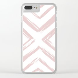 Minimalistic Rose Gold Paint Brush Triangle Diamond Pattern Clear iPhone Case