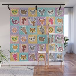 funny animals muzzle pattern with pink lilac blue orange square Wall Mural