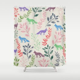 Watercolor Floral & Fox III Shower Curtain
