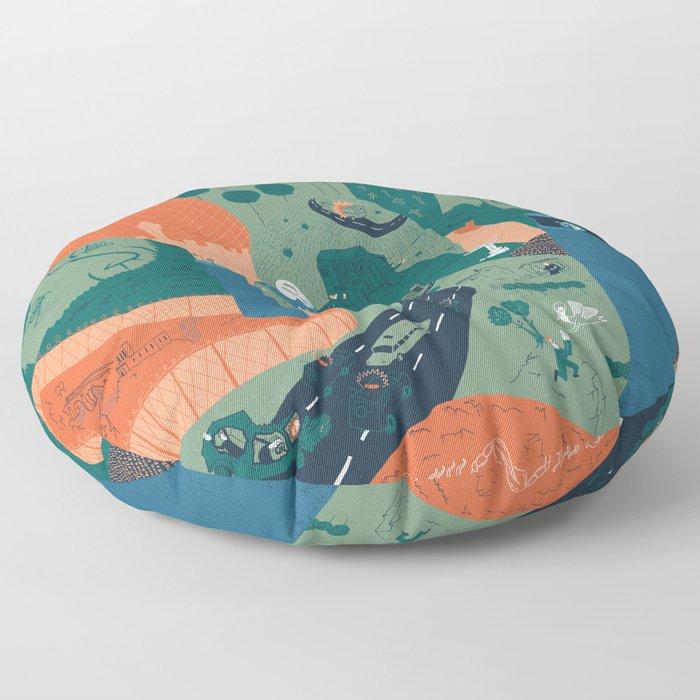 Jerusalem Poster Floor Pillow