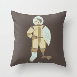 Bird Man Astronaut Throw Pillow