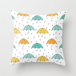 cute cartoon autumn pattern with umbrellas and rain Throw Pillow