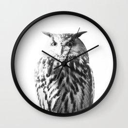 Owl on White #1 #animal #decor #art #society6 Wall Clock