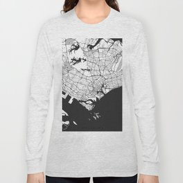 Singapore Map Gray Long Sleeve T-shirt