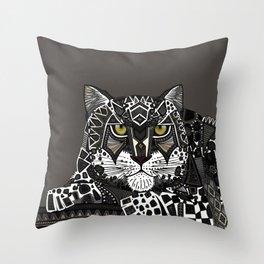 snow leopard lead Throw Pillow