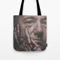 house of cards Tote Bags featuring Frank Underwood / House of Cards by Earl of Grey