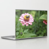 rileigh smirl Laptop & iPad Skins featuring Flower and Bee by Rileigh Smirl