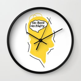 No beer no party Wall Clock