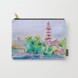 Elbow Reef Lighthouse Hope Town, Abaco, Bahamas Watercolor painting Carry-All Pouch