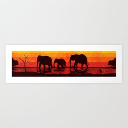 Elephant evening Sri Lanka Art Print