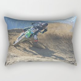 Dishing the Dirt - Motocross Champion Race Rectangular Pillow