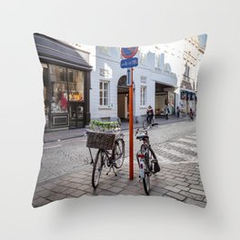 Bruges bike Throw Pillow
