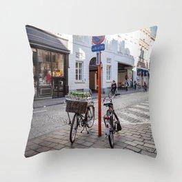 Bruges bike Throw Pillow