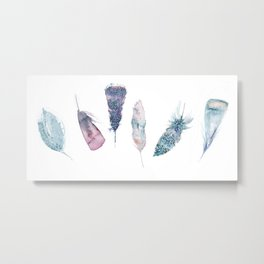 Watercolor feather collection in blue and pink Metal Print