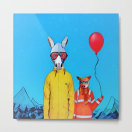 Donky and piggy going to the party Metal Print