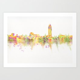 Colorful Stanford California Skyline - University Art Print