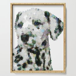 Dalmatian  puppy portrait discover Art Print Serving Tray