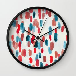 Watercolor Ovals - Red, Blue & Cream Wall Clock