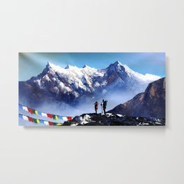 Panoramic View Of Ama Dablam Peak Everest Mountain Metal Print