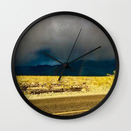 Sunlight Breaking Through the Clouds in Death Valley Wall Clock