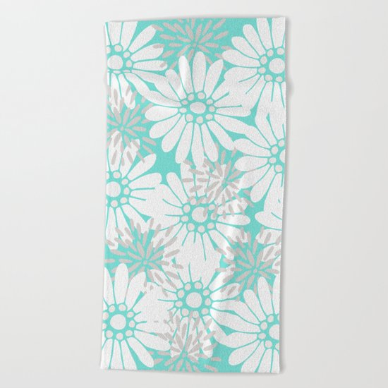 Summer Flowers Turquoise Beach Towel