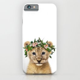 Baby Lion With Flower Crown, Baby Animals Art Print By Synplus iPhone Case