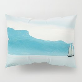 Modern Minimalist Landscape Ocean Pastel Blue Mountains With White Sail Boat Pillow Sham