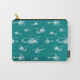 Helicopters on Teal Carry-All Pouch