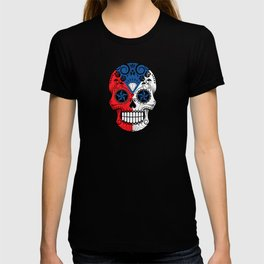 Sugar Skull with Roses and Flag of Czech Republic T-shirt