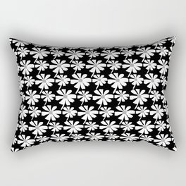 Daisies In The Summer Breeze - Black White Grey Rectangular Pillow