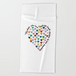 Hearts Heart Teacher Beach Towel