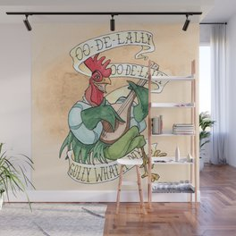 Alan-A-Dale Rooster : OO-De-Lally Golly What A Day Tattoo Watercolor Painting Wall Mural