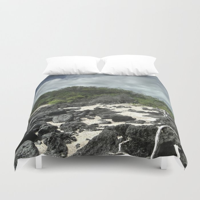 sand and rocks of the Galapagos Duvet Cover