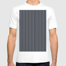 Steel Blue Double Stripes White Mens Fitted Tee MEDIUM