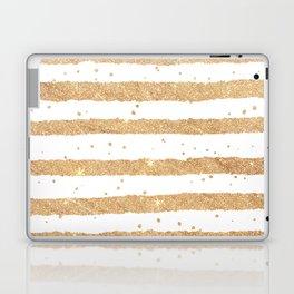 Elegant white faux gold glitter geometrical stripes Laptop & iPad Skin