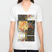 fireworks V-neck T-shirts featuring Fireworks by MMZ Designs