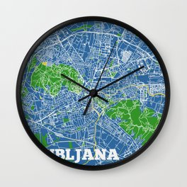 Ljubljana, Slovenia street map Wall Clock
