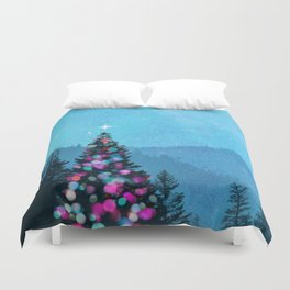 Mountainside Christmas Duvet Cover