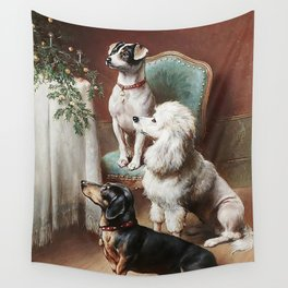 Christmas Dogs Wall Tapestry
