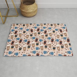 Coffee Love - Brown and blue palette Rug