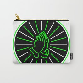 Folded for prayer hands in the center of the circle with green rays Carry-All Pouch