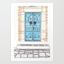 Blue Door with Black Decorations Art Print