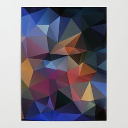 Abstract background of triangles polygon design bright colors Poster