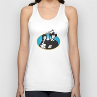 outdoor Tank Tops featuring cowboy and girl holding aerial outdoor antennae by retrovectors