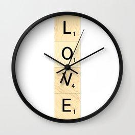 LOVE - Vertical Scrabble Letter Tiles Art Wall Clock