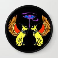 egyptian Wall Clocks featuring Egyptian Cats by waggytailspetportraits